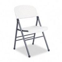 White Samsonite with Chrome Frame Folding Chair