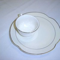 Ivory with Gold Rim Snack Plate and Cup China