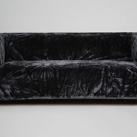 Black Velour Covered Couch