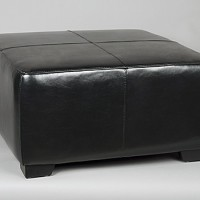 Leather Black Ottoman