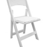 White Resin Folding Chair with Padded