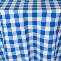 108&#8243; Round Royal Blue and White Check Linen