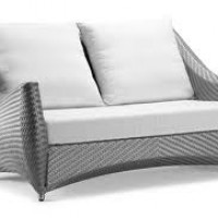 Tan Rattan Sofa