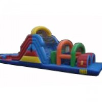 40' Long Obstacle Course with Wet Slide