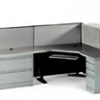 Grey L Workstation with Counter