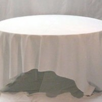 132&#8243; White Round Table Linen